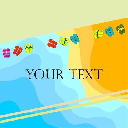 Vector set with cute and colorful summer slippers. Beach vacation. Vector background. Stockfoto - 123124031