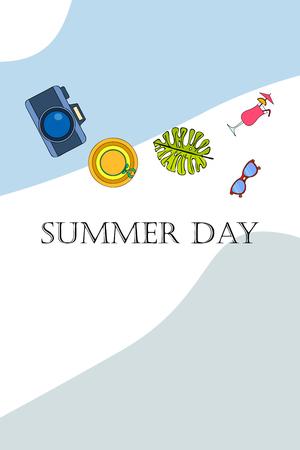 Summer postcard design. Sunglasses, camera, cocktail, leaf of a tropical plant, hat. Vector background Ilustrace