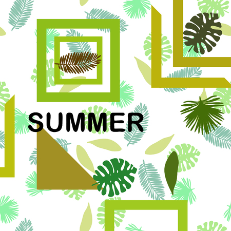 The leaves are tropical plants. Summer rest. Tropical design. Vector background. 일러스트