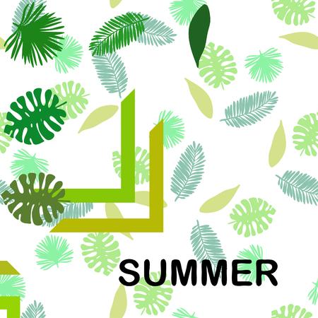 Le foglie sono piante tropicali. Riposo estivo. Disegno tropicale. Sfondo vettoriale.
