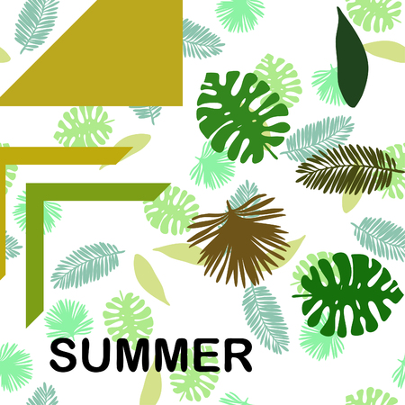The leaves are tropical plants. Summer rest. Tropical design. Vector background. Illustration
