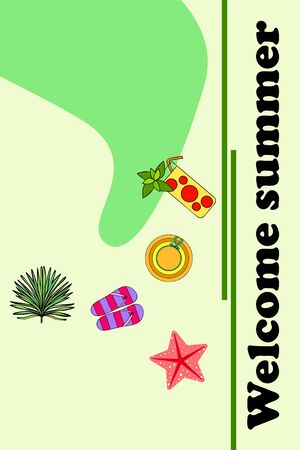 Vector illustration for summer sale. Top view on the summer decoration, hat, tropical sheet, starfish, flip flops. The concept of seasonal vacations in a tropical country. Ilustração