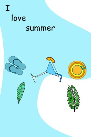 Vector illustration for summer sale. Top view on the summer decoration, hat, tropical sheet, starfish, flip flops. The concept of seasonal vacations in a tropical country. Illustration