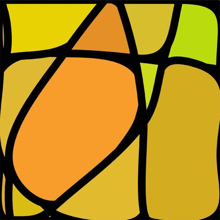 Stained Glass Window with abstract shapes and colorful glass inserts. Çizim