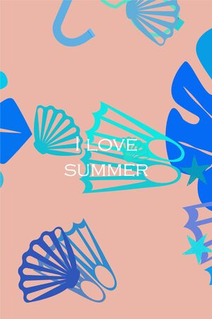 Vector set of underwater sea design elements. Diving. Top view.