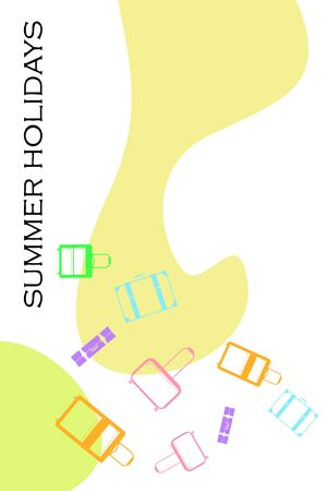 Vector cartoon style illustration of suitcases. Time to travel. Travel and tourism.
