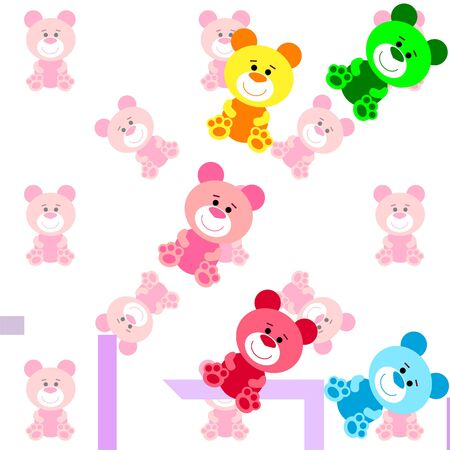 Color vector bear, baby picture, cartoon character, vector background. Çizim