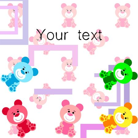 Color vector bear, baby picture, cartoon character, vector background. Illustration