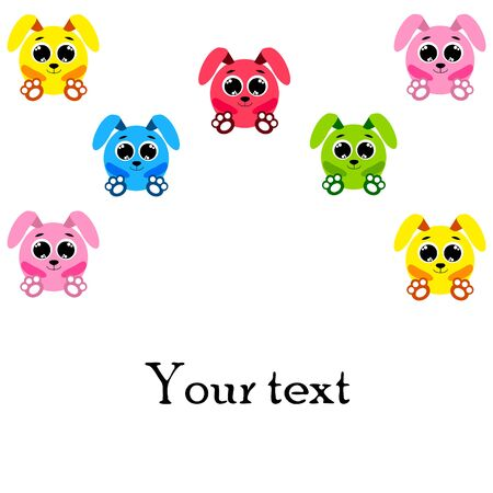 Cute rabbit. Easter Bunny. Can be used for kids shirt design, children cartoon character background.