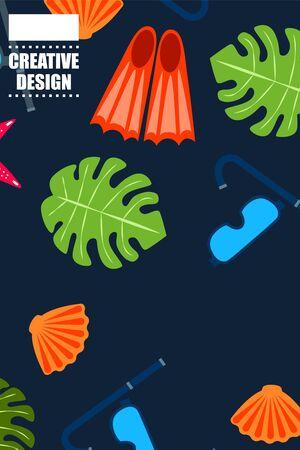 Set of underwater sea design elements. Diving. Top view.