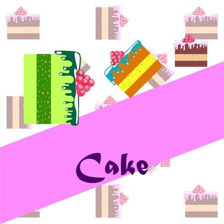 Colorful sweet cakes slices pieces illustration.