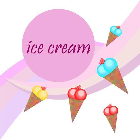 Sweet cartoon ice cream. Vector colorful ice creams. Illustration