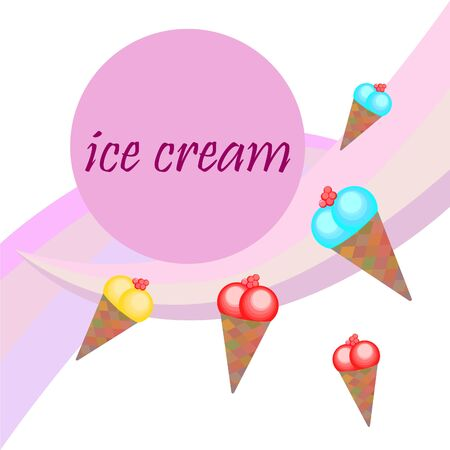 Sweet cartoon ice cream. Vector colorful ice creams. Vettoriali