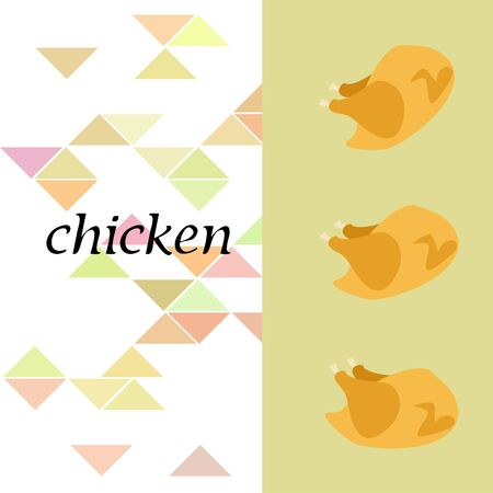 Chicken meat, cartoon, vector illustration, food background.