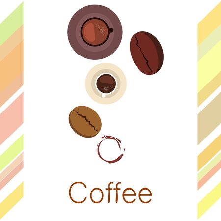 Coffee cup, coffee grains, breakfast concept. Drinks menu for restaurant