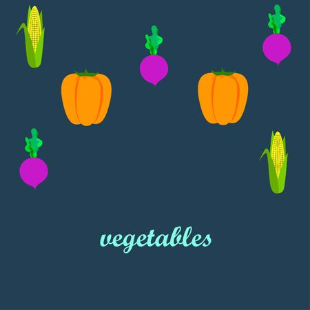 Fresh vegetables. Pepper, beet, corn. Organic food poster. Farmer market design.