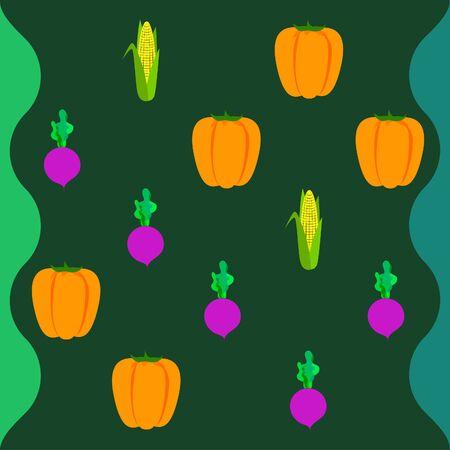Fresh vegetables. Pepper, beet, corn. Organic food poster. Farmer market design. Vector. 向量圖像