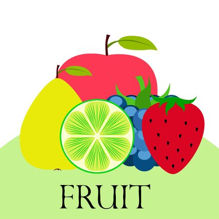 Fruits and berries. Colorful cartoon fruit icons: apple, pear, blackberry, strawberry, lime. Vector background. Imagens - 128417313