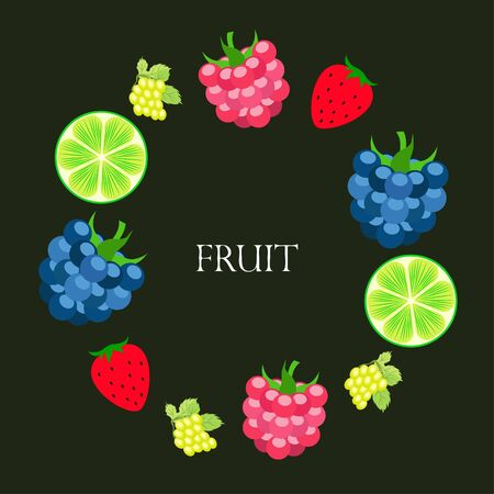 Fruits and berries. Colorful cartoon fruit icons: blackberry, raspberry, grape, strawberr, lime. Vector background. Imagens - 128418080