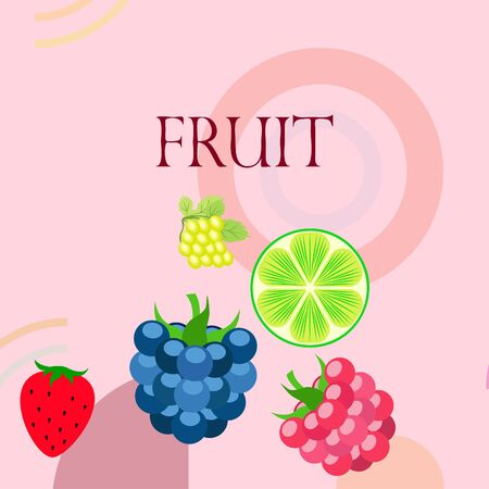 Fruits and berries. Colorful cartoon fruit icons: blackberry, raspberry, grape, strawberr, lime. Vector background.