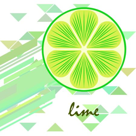 Green half and slice lime. Vector illustration, background.