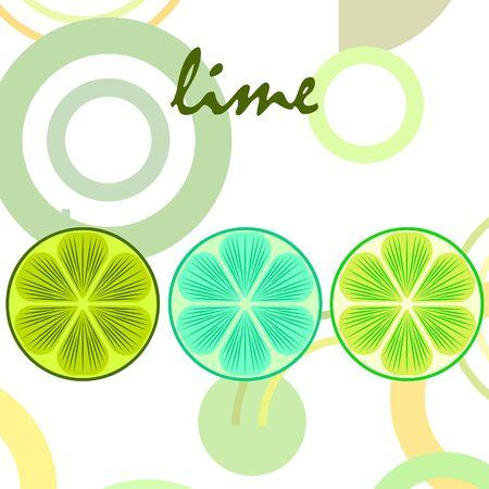 Verde la mitad y la lima en rodajas. Ilustración de vector, fondo.