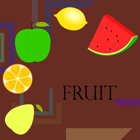 Fruits and berries. Colorful cartoon fruit icons: orange, pear, apple, lemon, watermelon. Vector background. Ilustracja