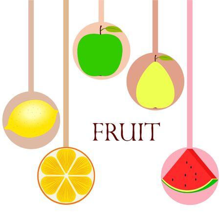 Fruits and berries. Colorful cartoon fruit icons: orange, pear, apple, lemon, watermelon. Vector background. Illustration