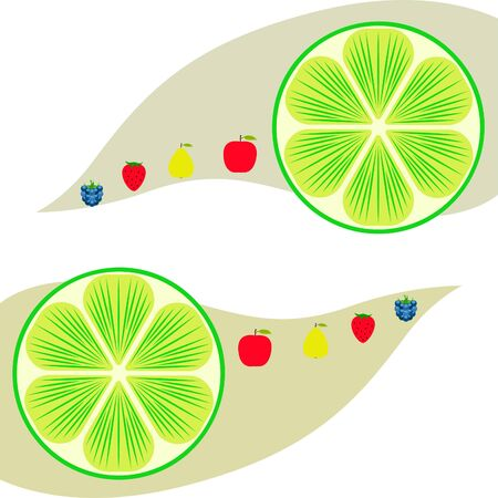 Fruits and berries. Colorful cartoon fruit icons: apple, pear, blackberry, strawberry, lime. Vector background.