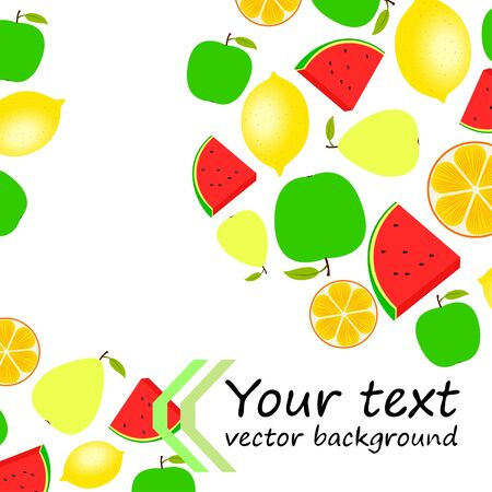 Fruits and berries. Colorful cartoon fruit icons: orange, pear, apple, lemon, watermelon. Vector background.  イラスト・ベクター素材