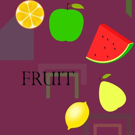 Fruits and berries. Colorful cartoon fruit icons: orange, pear, apple, lemon, watermelon. Vector background. 向量圖像