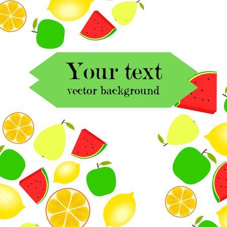 Fruits and berries. Colorful cartoon fruit icons: orange, pear, apple, lemon, watermelon. Vector background. Ilustracja