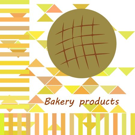 Bakery background. Line graphics. The collection of bread. Bread House. Engraving top view illustration. Vector illustration  イラスト・ベクター素材