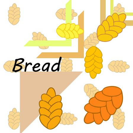 Bread background. Vector bakery pastry, wicker bun. Use for menu design.