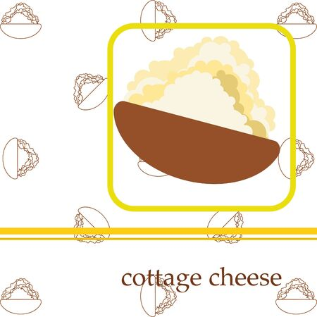 Fresh cottage cheese, dairy products, vector background Ilustração