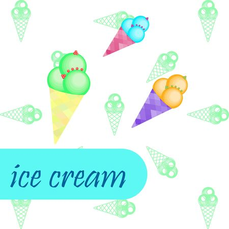 Sweet cartoon ice cream. Vector colorful ice creams. Ilustracja