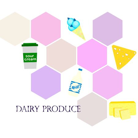Vector illustration of dairy products.