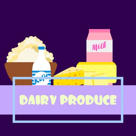 Dairy products on colored design