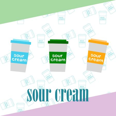 Sour cream on colored design