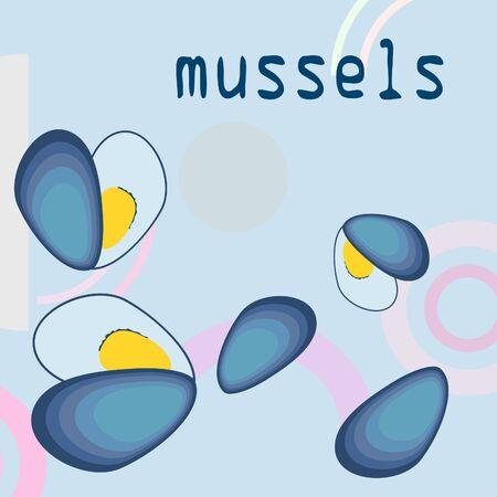 Mussels fresh seafood  イラスト・ベクター素材