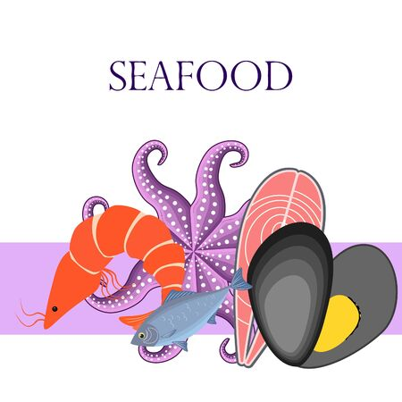Fresh seafood on colored design
