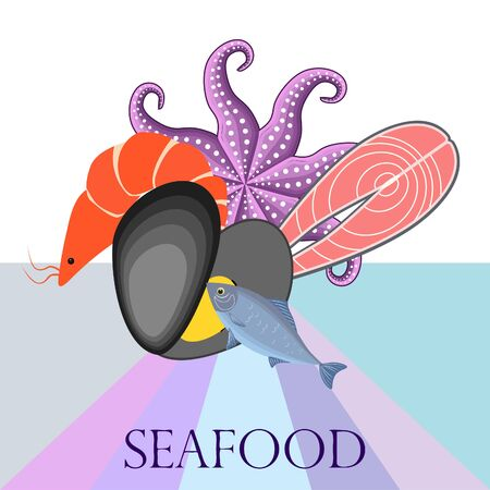 Fresh seafood on colored design Ilustração Vetorial