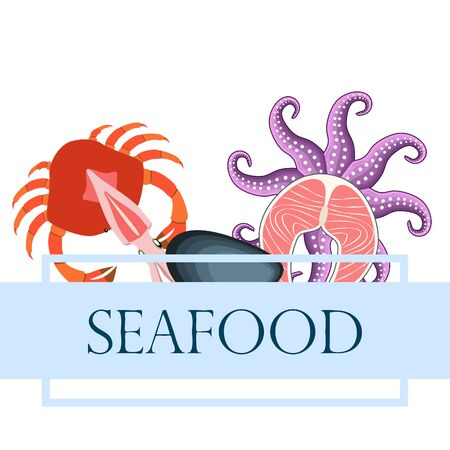 Squid, mussels, crab, fish, octopus. Fresh seafood.