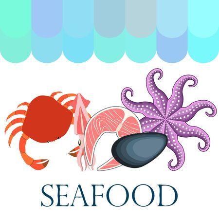 Squid, mussels, crab, fish, octopus. Fresh seafood. 写真素材 - 128920773