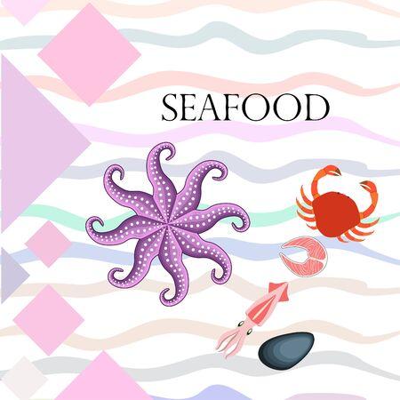 Fresh seafood on white