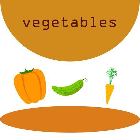 Carrot, pepper, cucumber. Organic food poster. Farmer market design. Vector background.