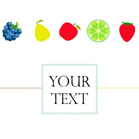 Fruits and berries. Colorful cartoon fruit icons: apple, pear, blackberry, strawberry, lime Иллюстрация