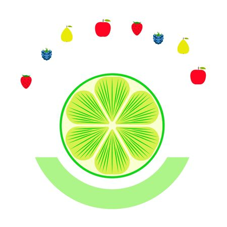 Fruits and berries. Colorful cartoon fruit icons: apple, pear, blackberry, strawberry, lime Ilustração