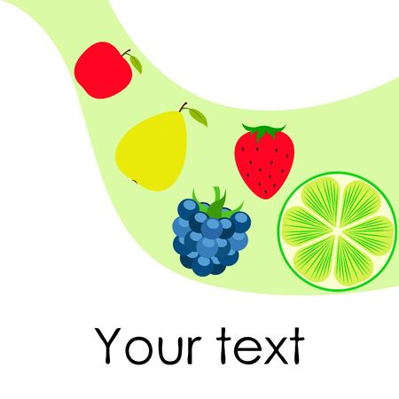 Fruits and berries. Colorful cartoon fruit icons: apple, pear, blackberry, strawberry, lime