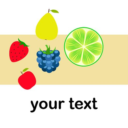 Fruits and berries. Colorful cartoon fruit icons: apple, pear, blackberry, strawberry, lime.